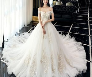 ball gown, appliques lace flower, and off-the-shoulder image