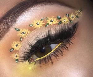makeup, yellow, and sunflowers image