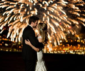 bride, couple, and fireworks image