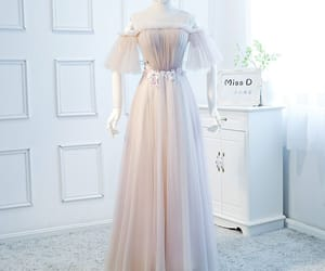 evening dress, long dress, and tulle dress image