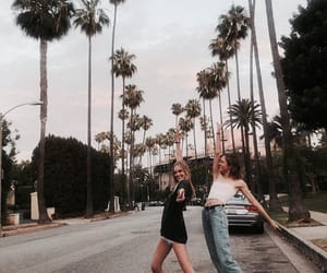 girls, palm trees, and road image