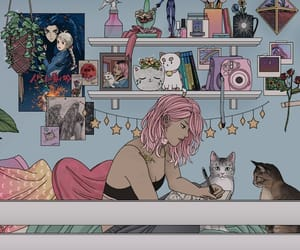 anime, art, and cats image