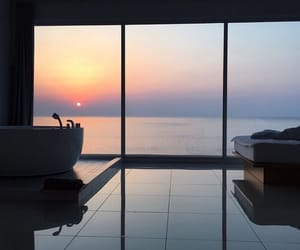 sunset, home, and ocean image