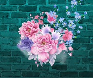 background, blue, and brick wall image