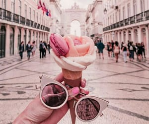 ice cream, pink, and sunglasses image