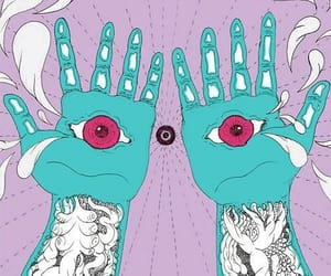 hands, art, and psychedelic image