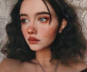 girl, makeup, and orange image