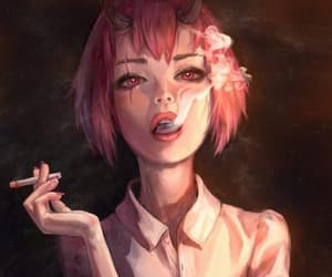 girl, art, and demon image