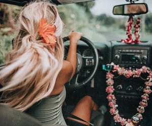 blonde, girl, and car image
