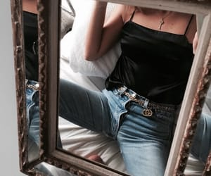 fashion, mirror, and jeans image