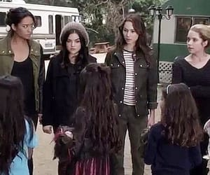 """Pretty Little Liars, 4x01, """"A Is for A-l-i-v-e,"""" aired 11 June 2013. Adults L to R: Mona Vanderwaal (Janel Parrish), Emily Fields (Shay Mitchell), Aria Montgomery (Lucy Hale), Spencer Hastings (Troian Bellisario), & Hanna Marin (Ashley Benson)."""