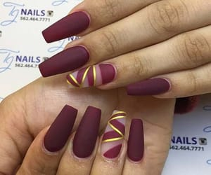 Matte Burgundy Nails with a Pop of Gold