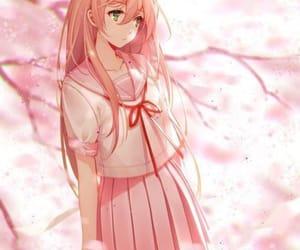 anime, girl, and pink image