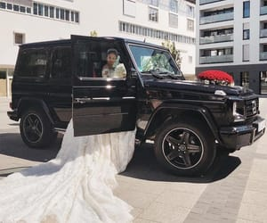 wedding, car, and marriage image