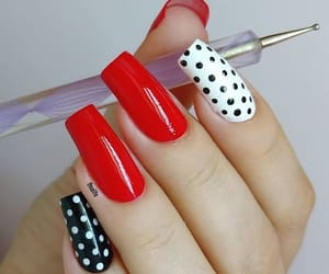 nails, polka dot, and red image