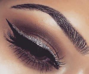 brown, eyeliner, and eyebrow image