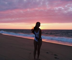 beach, pretty girl, and water image
