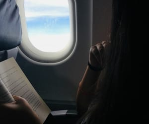 airplane, book, and travel image