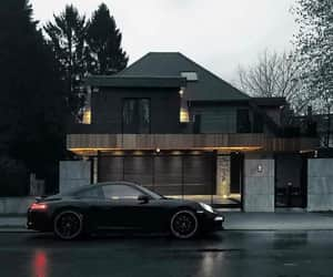 black, house, and car image