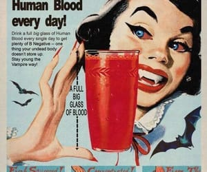 vampire, blood, and vintage image