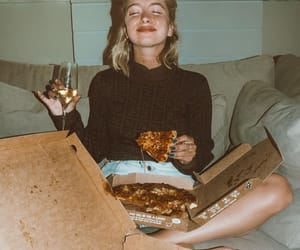 pizza, girl, and wine image