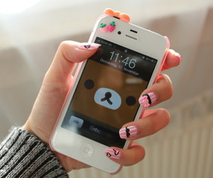 cute, nails, and iphone image