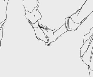 couple, drawings, and holding hands image