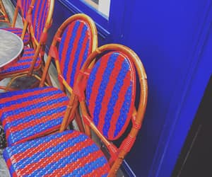 blue and red, chairs, and stripes image