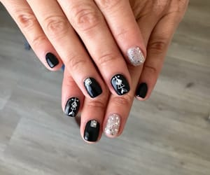 arrow, black and white, and black nails image