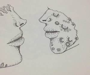 dibujo, mujer, and luna image