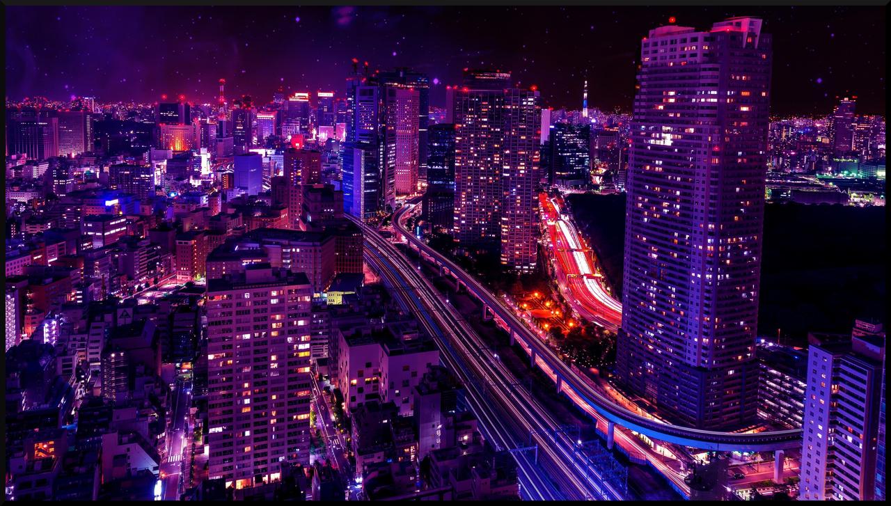 Shiodome Skyline At Nightminato Tokyo Japan 4k Wallpaper