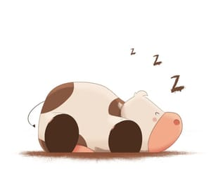 cartoon, cow, and sleeping image