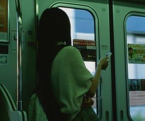 girl, green, and train image