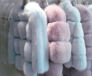 pink, fur coat, and blue image