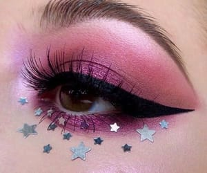makeup, stars, and pink image