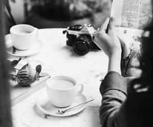 b&w, black and white, and coffee image