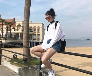 asian girl, street wear, and beach image