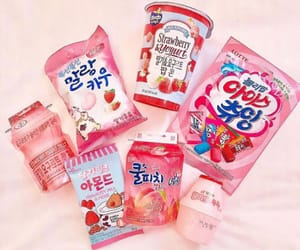 korean, pink, and snacks image