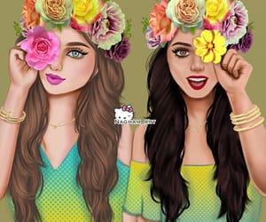 بنات كيوت, رسم كارتون, and زهور image