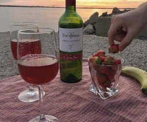 wine, strawberry, and beach image