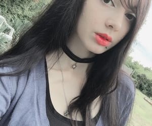 aesthetic, long hair, and red lips image