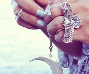 boho, rings, and moon image