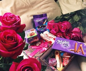 chocolate, flowers, and kitkat image