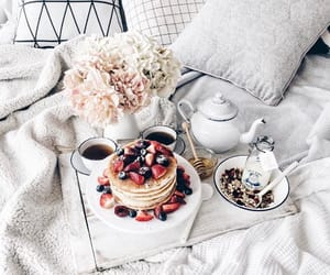 flowers, pancakes, and bed image