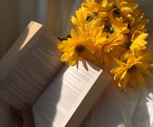 book, flower, and yellow image