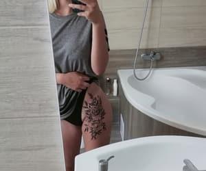bathroom, flower tattoo, and sexy tattoo image