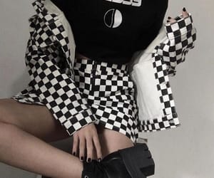 black and white, checkered, and jacket image