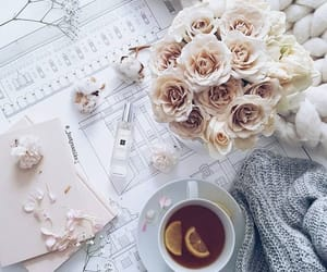 flowers, tea, and flatlay image
