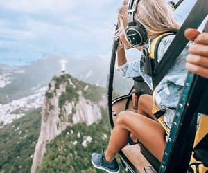 girl, travel, and helicopter image