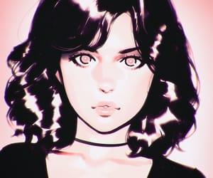 anime girl, art, and black image